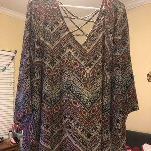 Crisscross paisley aztec blouse